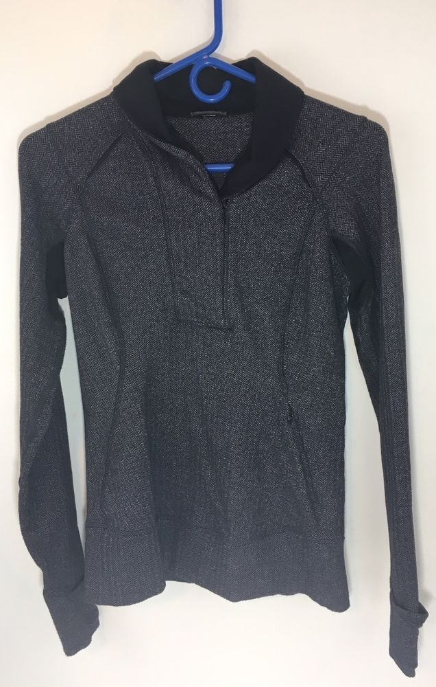 Lululemon Think Flast Heathered Black Herringbone Pullover Jacket Running Size 6 #Lululemon #ShirtsTops