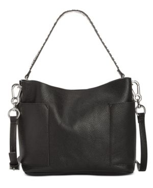 STEVE MADDEN FAUX LEATHER HOBO BAG  BLACK bags