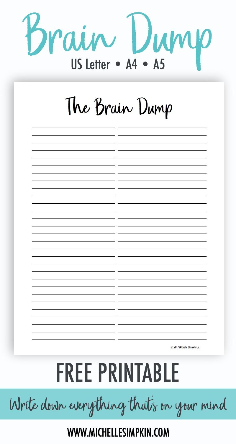 photograph about Brain Dump Printable titled Absolutely free Printable! This Thoughts Dump printable is the excellent
