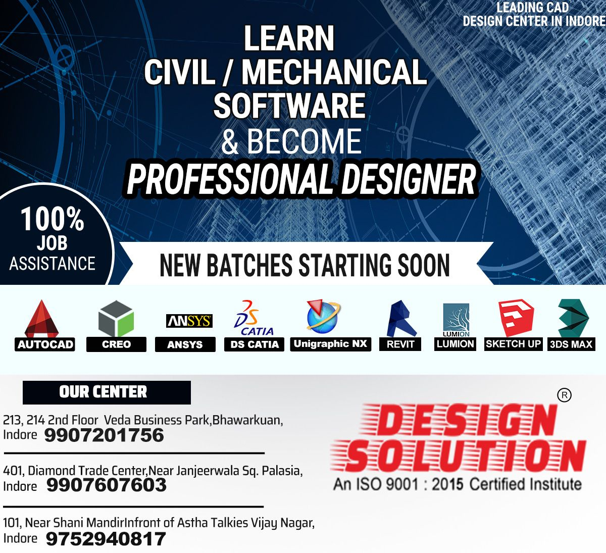 Learn Civil Architecture Mechanical Designing Cad Software With Design Solution And Open The Gates Of Opp Autocad Training Wellness Design Design Solutions