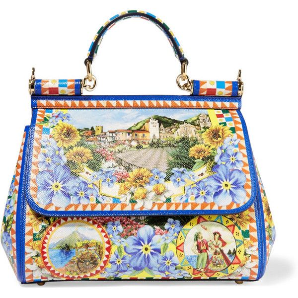 Dolce & Gabbana Sicily medium printed textured-leather tote ($2,095) ❤ liked on Polyvore featuring bags, handbags, tote bags, multi colored handbags, tote bag purse, structured handbag, dolce gabbana tote and colorful handbags
