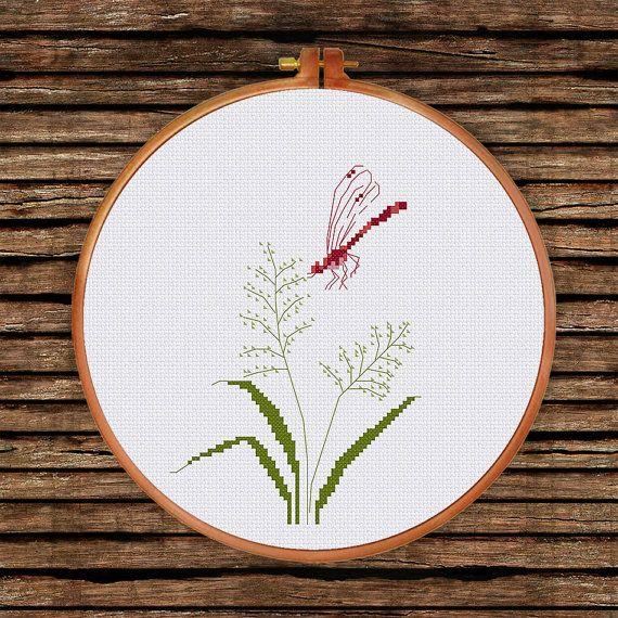 Hierba de libélula punto de cruz patrón Flores silvestres | bordados ...
