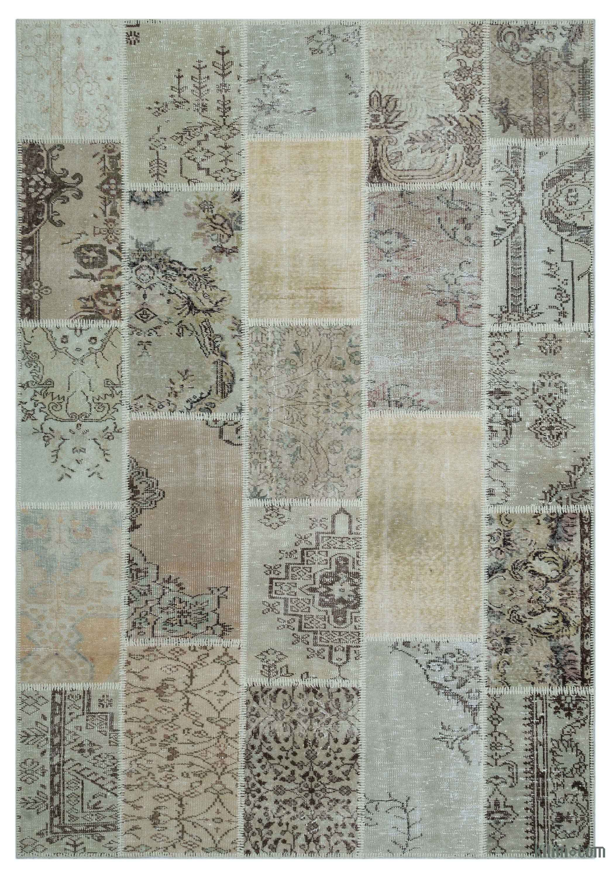 Beige Over Dyed Turkish Patchwork Rug