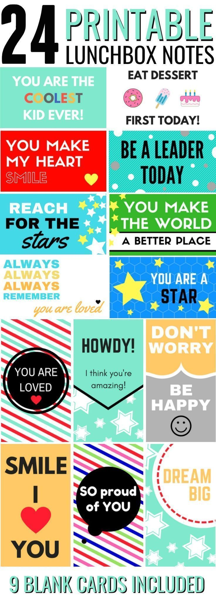 Back to School - Printable Lunchbox Notes for lunches images