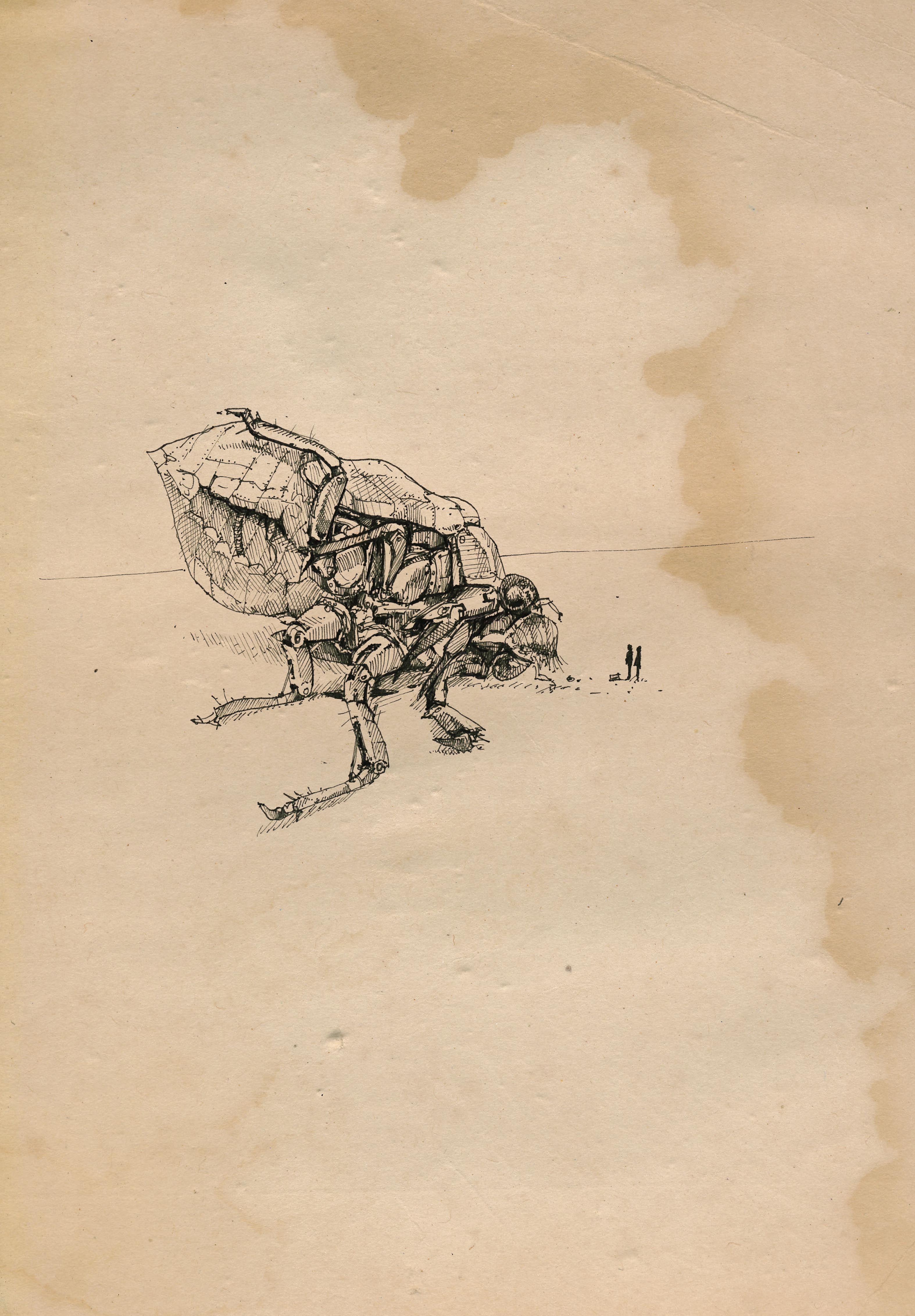 Robot dead fly robot fly sketch ink illustration on old paper ink illustration on old paper malvernweather Images