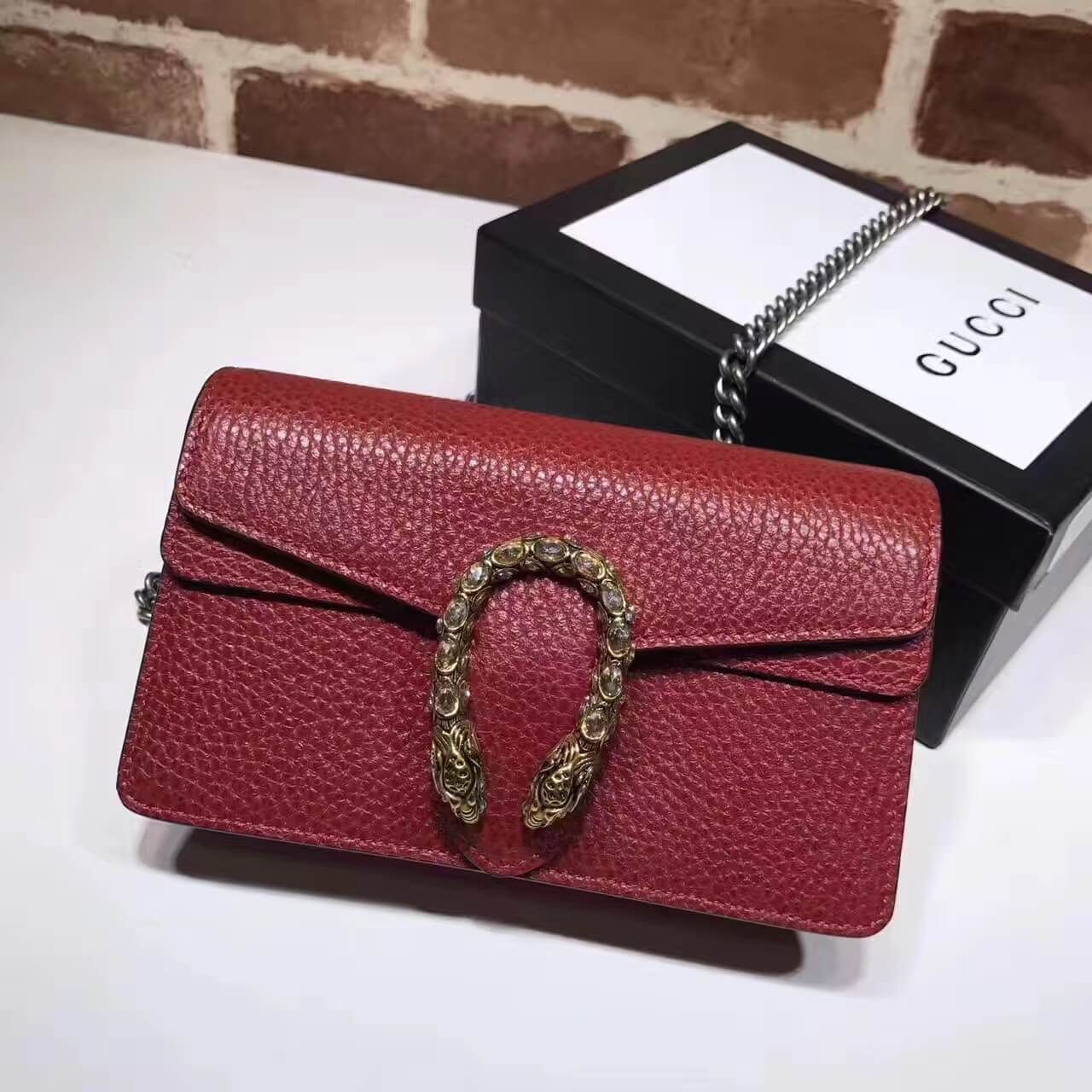 c7bb0028ce0 Gucci Dionysus Leather Super Mini Bag 476432 Red 2017