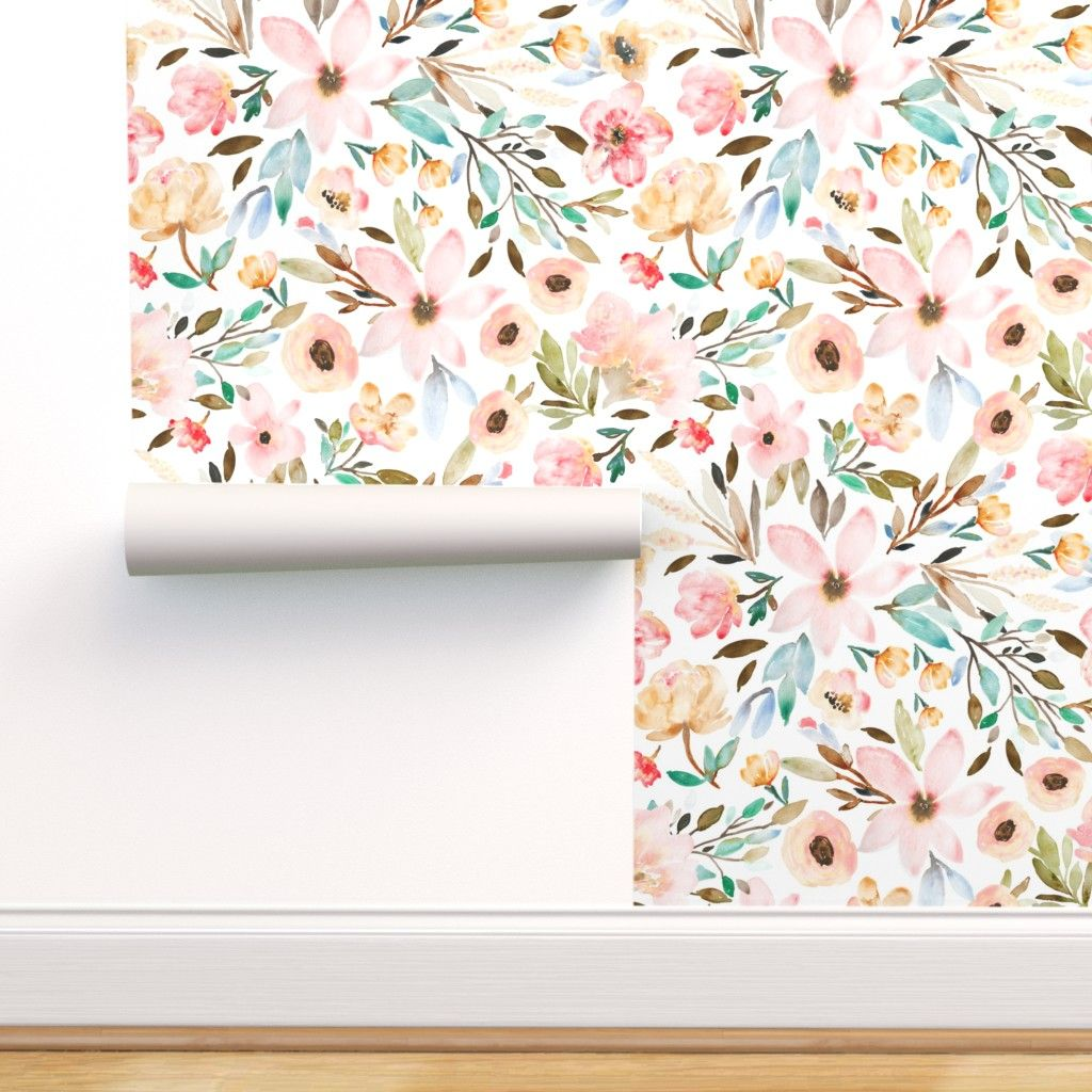 Peel And Stick Removable Wallpaper Boho Watercolor Floral Flowers Spring Walmart Com In 2021 Floral Wallpaper Peel And Stick Wallpaper Stick On Wallpaper