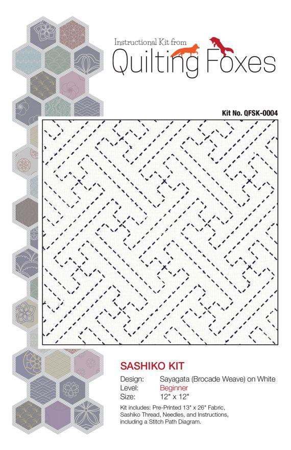 Sashiko Kit in White Quilt Kit Pillow Kit by QuiltingFoxes