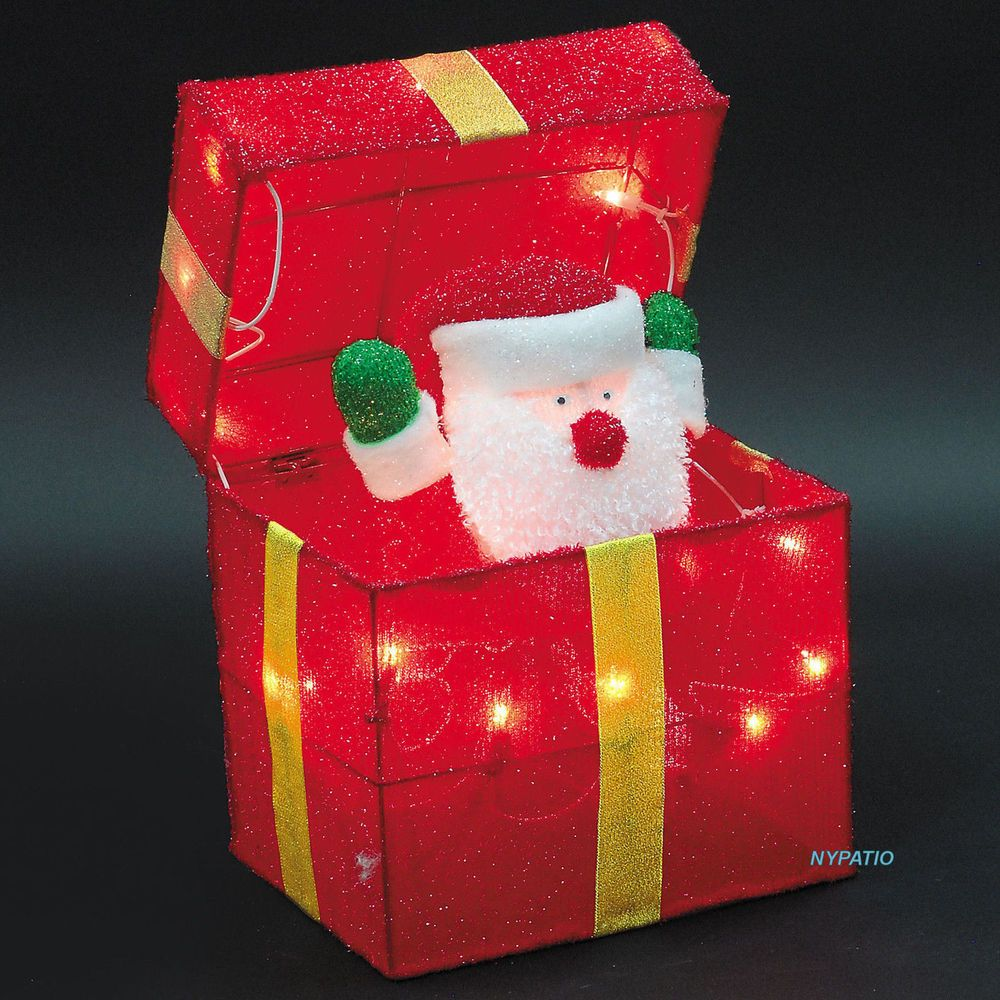 Animated santa gift box lighted tinsel indoor/outdoor christmas ...