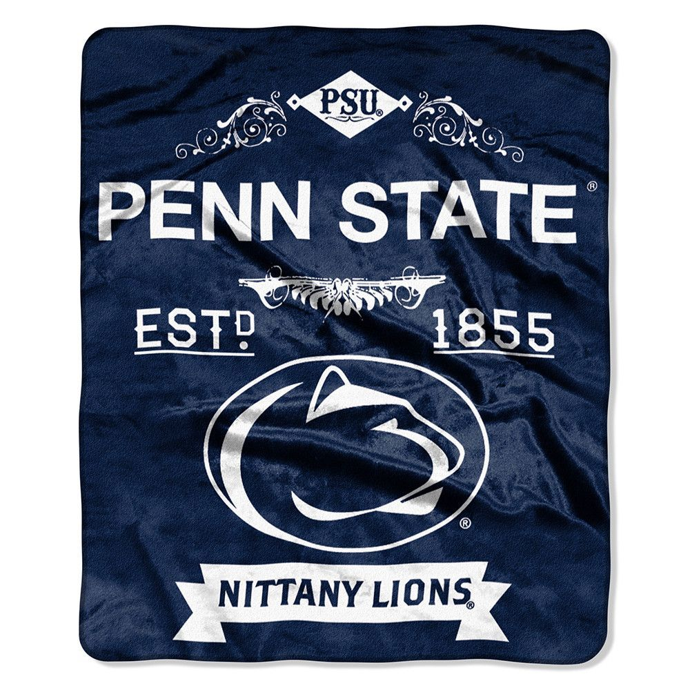 Penn state nittany lions ncaa royal plush raschel blanket label