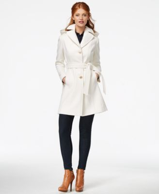 d7757cb54ba MICHAEL Michael Kors Hooded Belted Walker Coat Winter white perfection