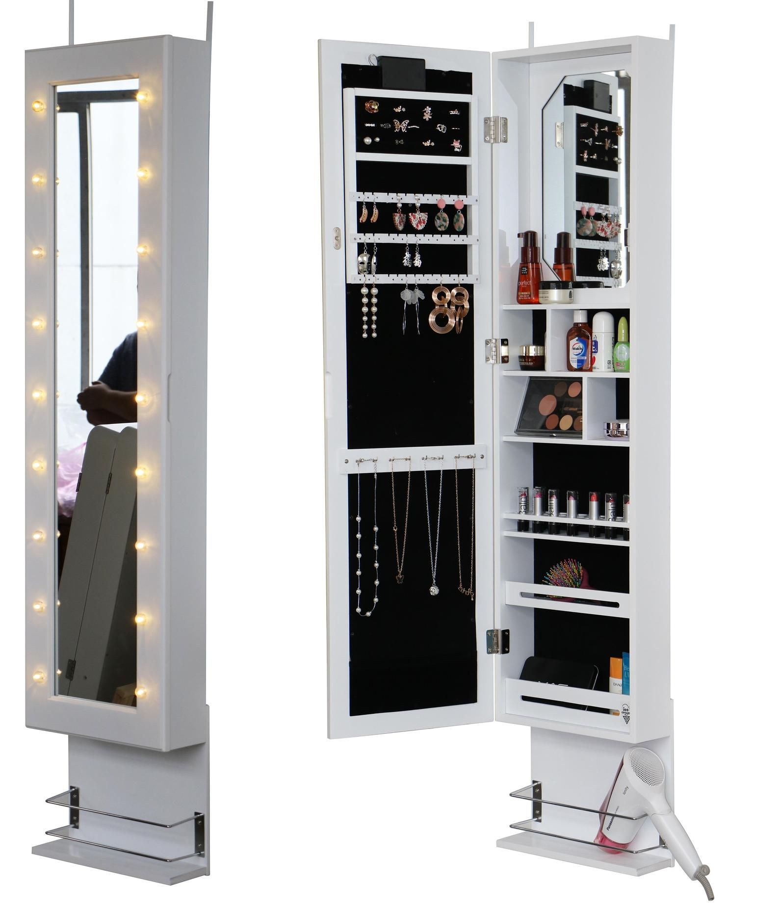 White Door Wall Mounted Mirror Jewellery Cabinet With Led Etsy Mirror Jewellery Cabinet Wall Mounted Mirror Mirror Jewelry Armoire