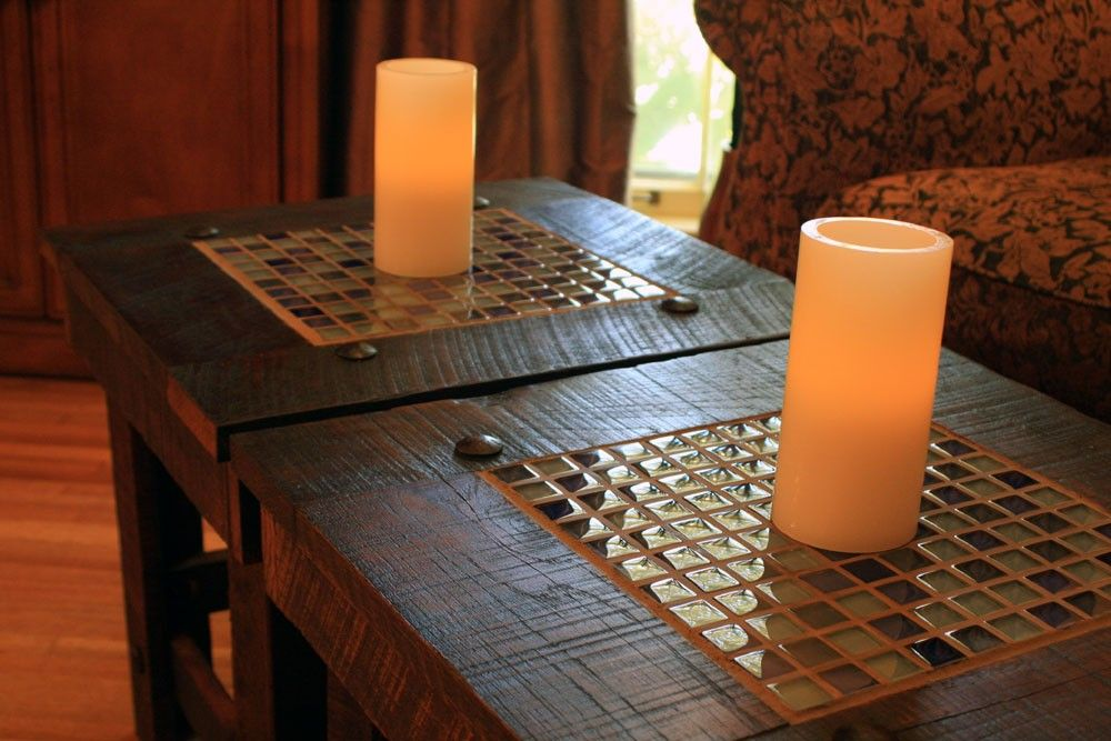End Table Set. Bunching Table W/ Glass Mosaic Tile. Rustic