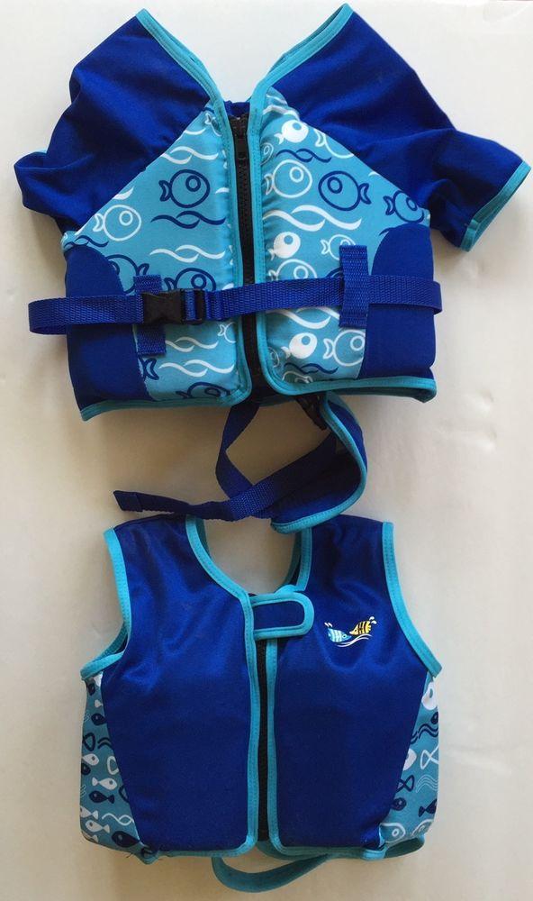 Toddler Flotation Vest Jacket Sun & Sky Blue Child Boy Set of 2 Size S-M Pool #SunSky