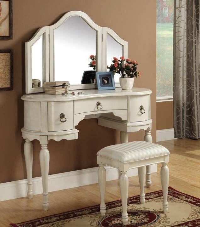 acme furniture trini white vanity set with mirror  white