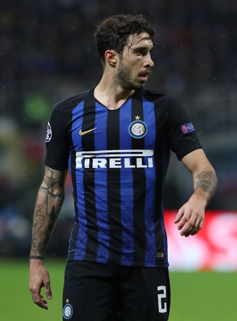 MILAN, ITALY - NOVEMBER 06:  Sime Vrsaljko of FC Internazionale looks on  during the Group B match of the UEFA Champions League between FC Internazionale and FC Barcelona at San Siro Stadium on November 6, 2018 in Milan, Italy.  (Photo by Marco Luzzani - Inter/Inter via Getty Images)