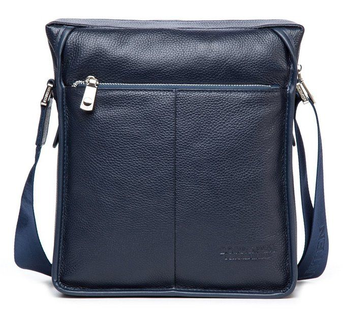 9029f4a383 Bostanten Men s Cowhide Leather Handbag Shoulder Briefcase Laptop Bag  Messenger Purse Blue http