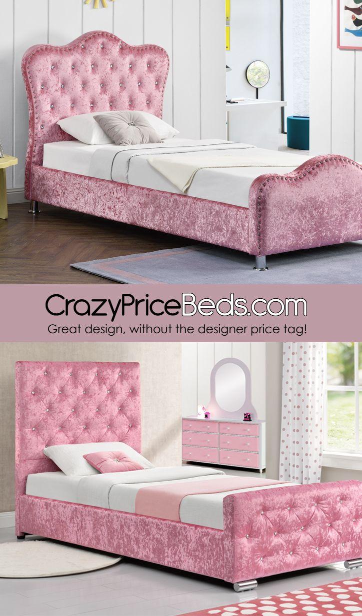 Kids Pink Velvet Princess Beds Apartment Bedding Princess Bed