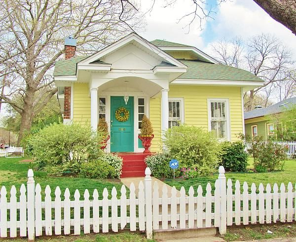 Yellow House White Trim Picket Fence Turquoise Door