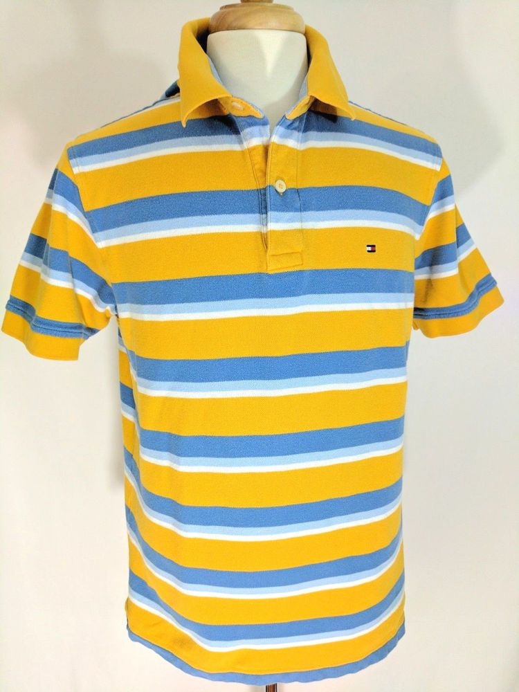 0cd6e0c27 Tommy Hilfiger Mens Polo Shirt Short Slvs Striped Yellow Blue White Cotton  Sz L  TommyHilfiger  PoloRugby