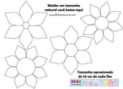 molde de flores em eva tamanho natural