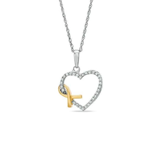 1 6 Ct T W Diamond Heart With Awareness Ribbon Pendant