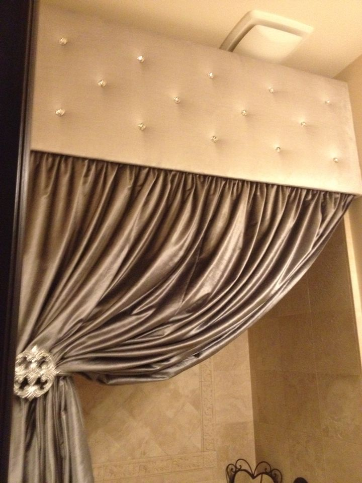 Rhinestone Tufted Cornice With Silver Tied Back Shower Curtain