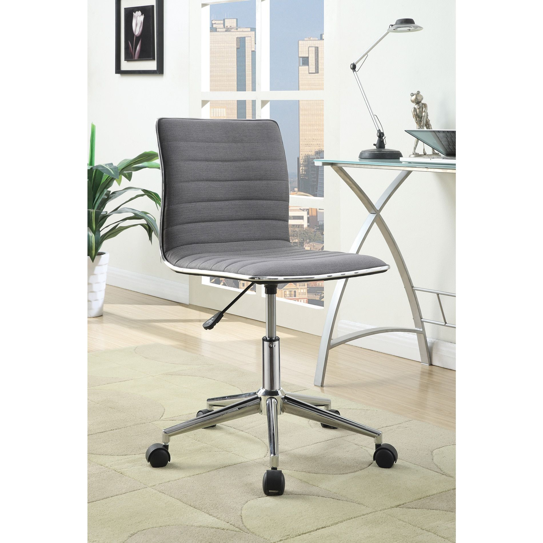 Coaster Company Grey/Chrome Contemporary Office Chair | Overstock.com  Shopping   The Best Deals On Office Chairs