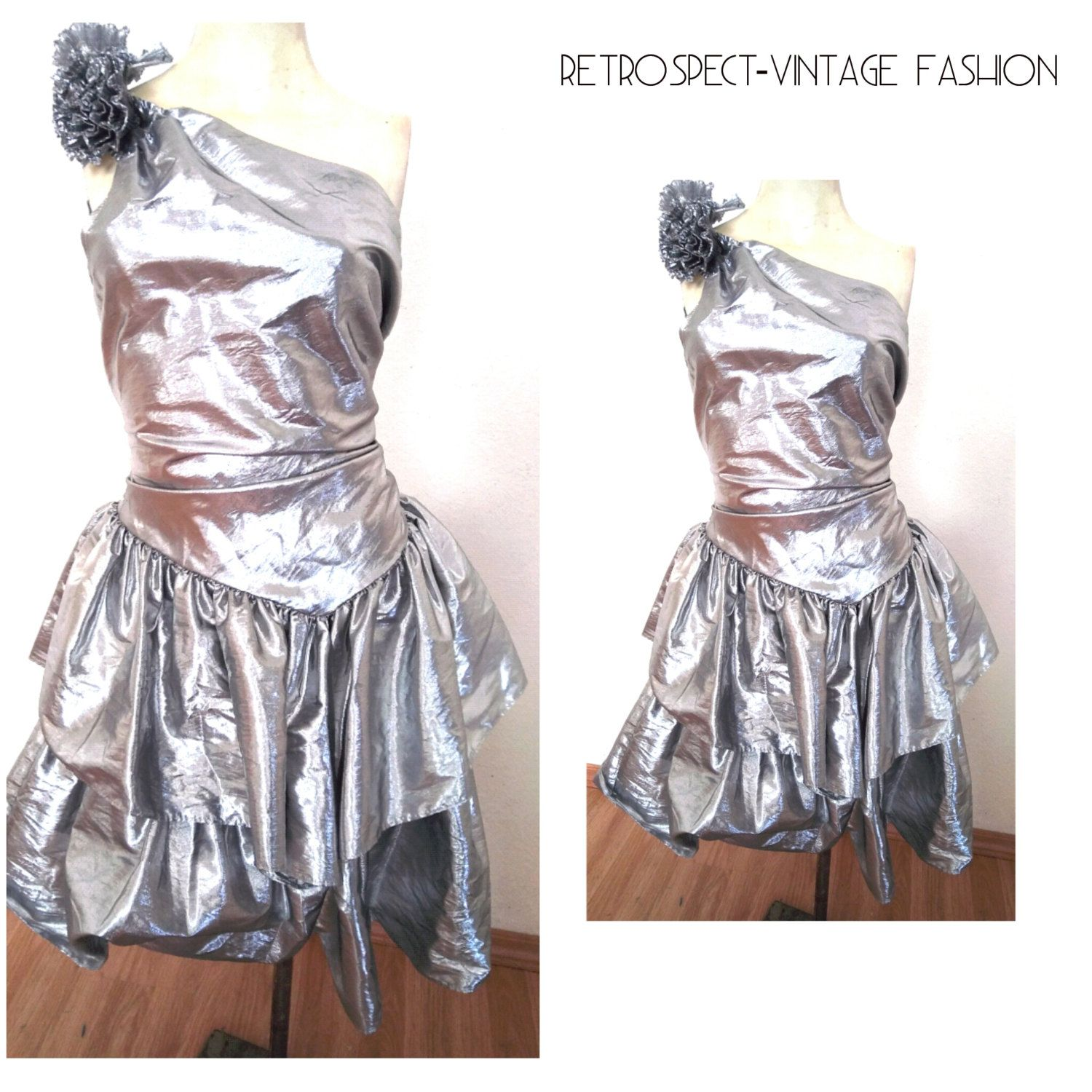 80 S Vintage Prom Dress 80 S Prom Dress Metallic Silver Cocktail Dress With Huge Bow And Ruffles Ruffled Asymetrical Design Size S 80s Prom Dress Prom Dresses Vintage Silver Cocktail Dress [ 1500 x 1500 Pixel ]