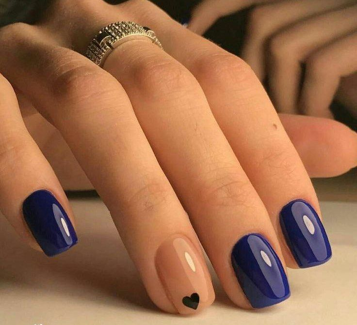 14th February nails, Dark blue nails, Heart nail designs, Manicure on the  day of lovers, Nails ideas 2018, Nails trends 2018, Party nails ideas, Plain  nails - Nail Art #3877 - Best Nail Art Designs Gallery Two Color Nails