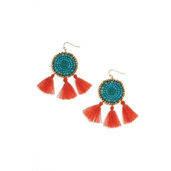 Panacea Seed Bead Tassel Earrings, Turquoise