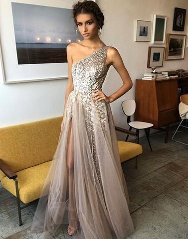 a0e72463cdd 2017 unique formal tulle one shoulder side slit long prom dress ...