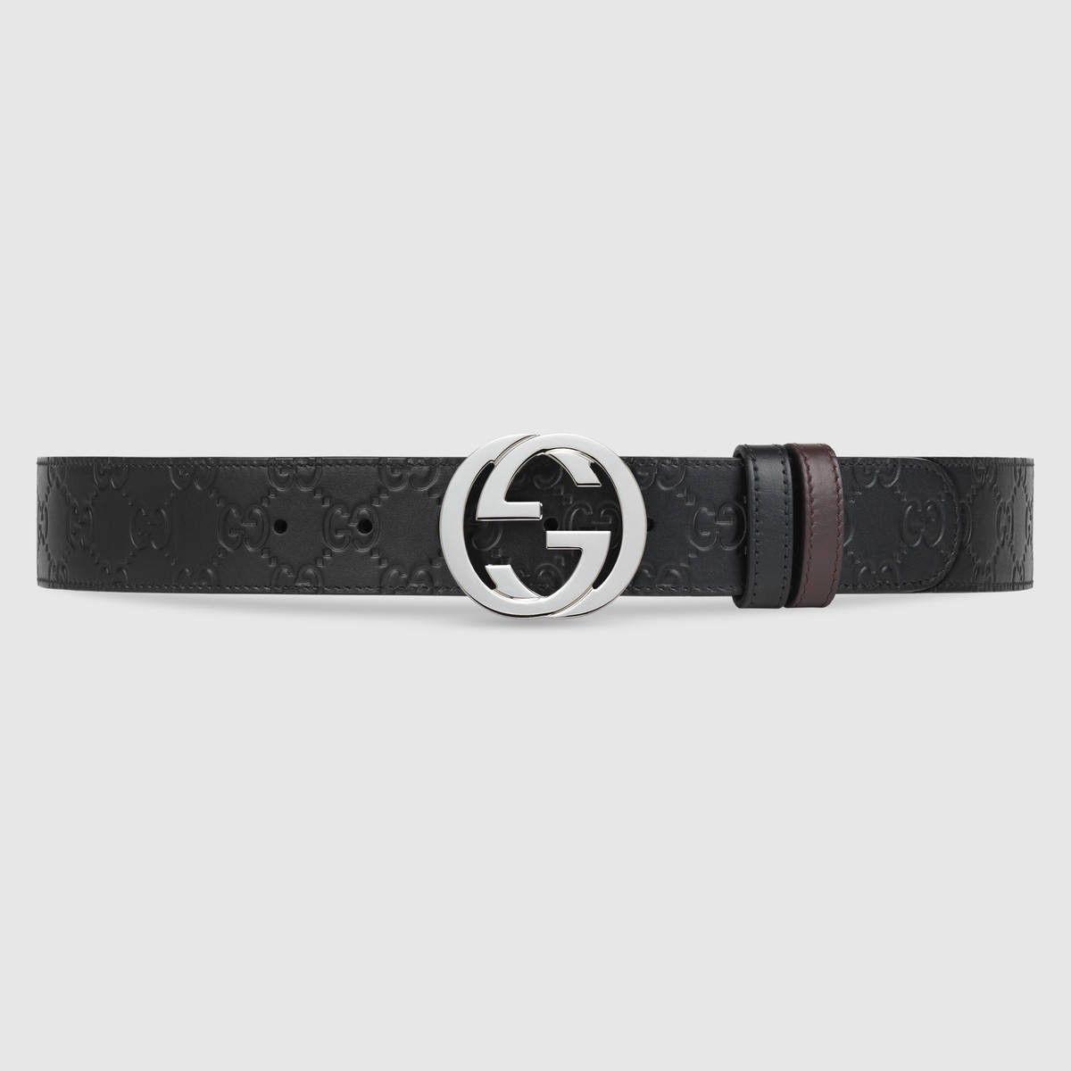 052b9b02617 GUCCI Reversible Gucci Signature belt - black Gucci Signature brown leather.   gucci