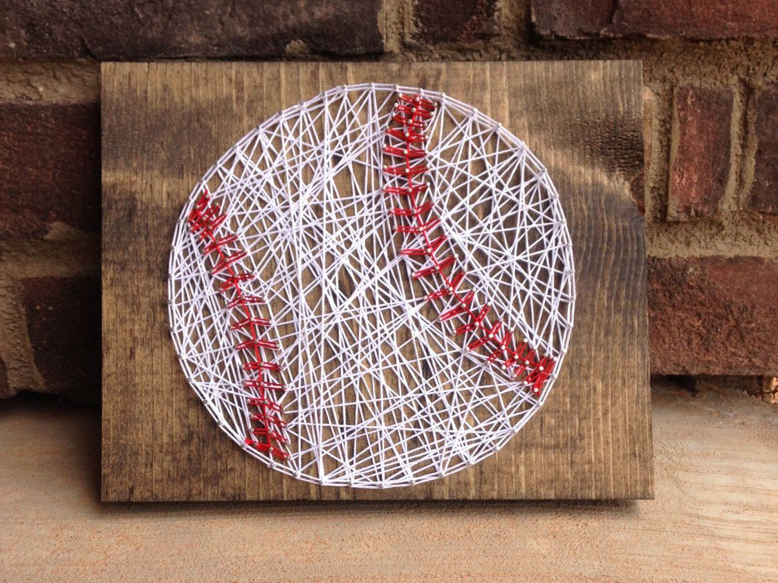 Bon A Cute Baseball String Art Wood Stained Sign Home Decor Coaches Gift Boys Room  Decorations Baseball