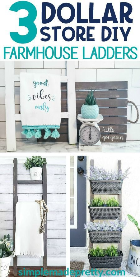 DIY Dollar Store Farmhouse Ladder