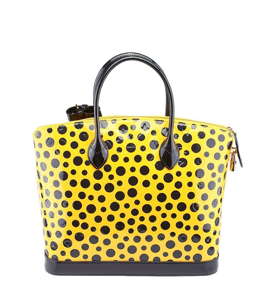 Louis Vuitton Limited Edition Yayoi Kusama Lockit Mm Infinity Dots Black Yellow Paten Louis Vuitton Yayoi Kusama Louis Vuitton Lockit Pre Owned Louis Vuitton