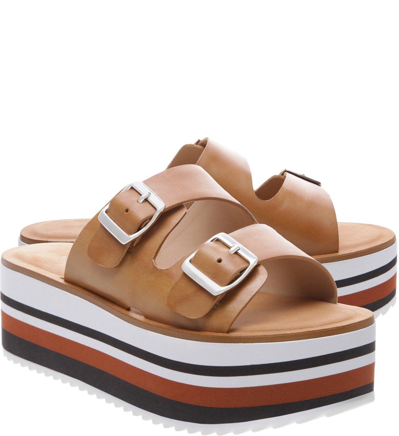 bbe88fcf6 Chinelo Slider Couro Plataforma Médio Natural Tan   Arezzo   Shoes ...