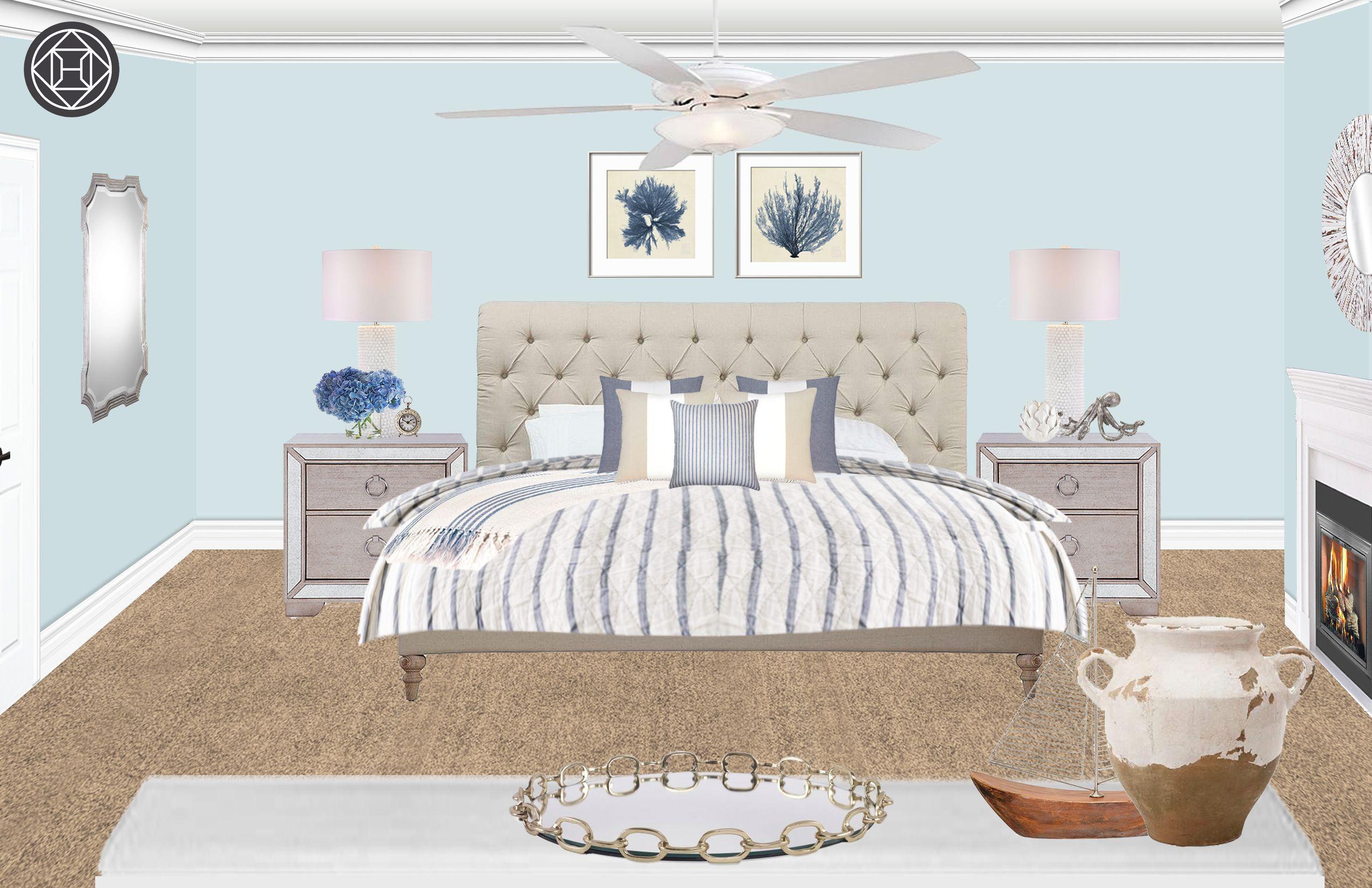 Coastal, Preppy Bedroom Design by Havenly Interior ...