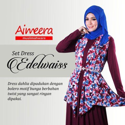 Set Dress Dengan Padu Padan Blazer Flower Print Dan Gamis Dahlia