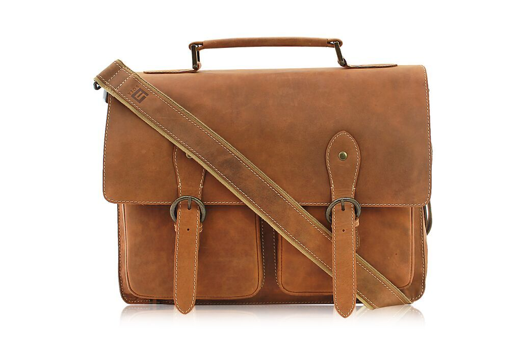 "kk/'s 16"" Inch Retro Buffalo Hunter Leather Laptop Messenger Bag Office Briefcase"