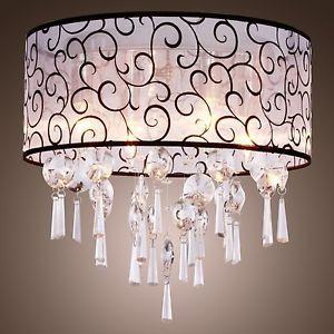 Elegant Crystal Drum Chandelier Ceiling Pendant Light Lamp Fit