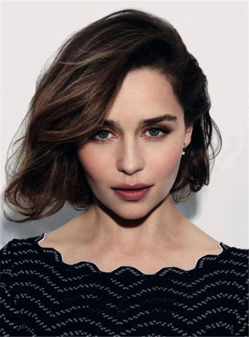 Short Emilia Clarke Straight Human Hair Full Lace Women Wig 10 Inches Emilia Clarke Hair Emilia Clarke Bob Hairstyles