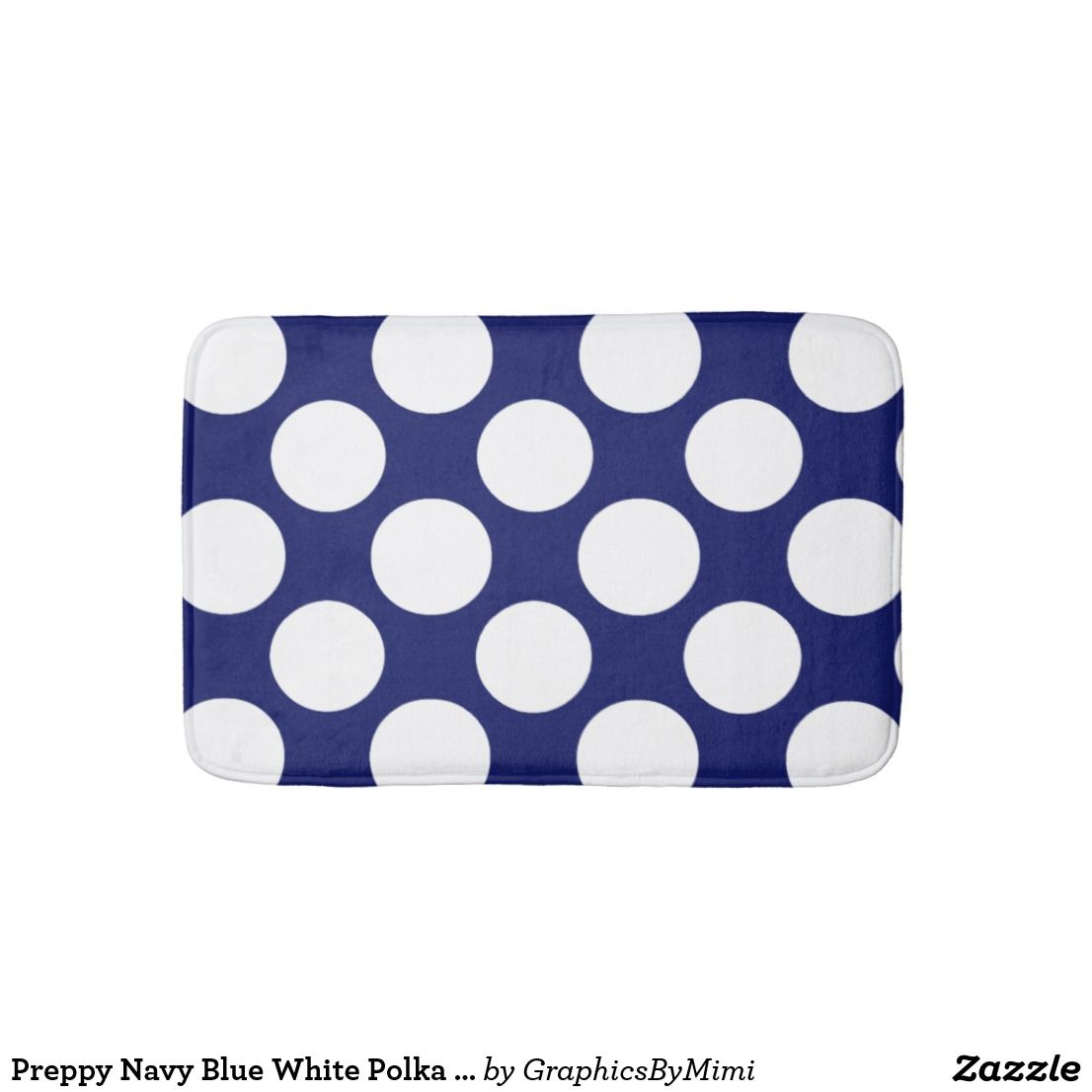 Preppy Navy Blue White Polka Dots Pattern Bathroom Mat Zazzle