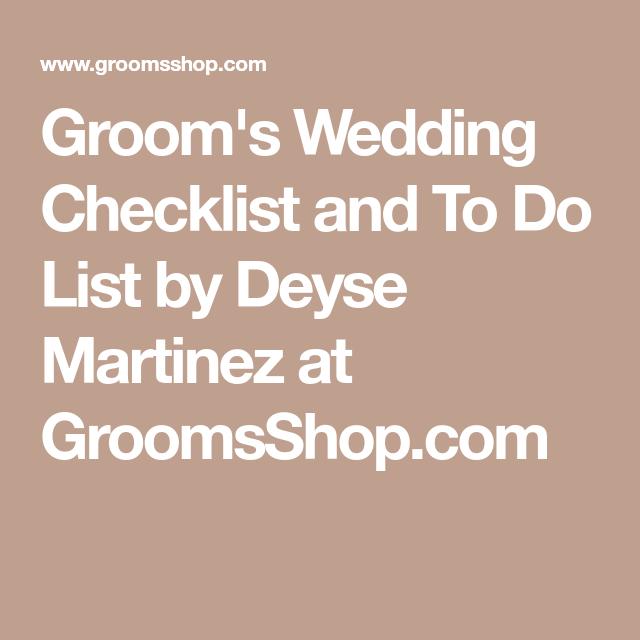 Groom's Wedding Checklist And To Do List