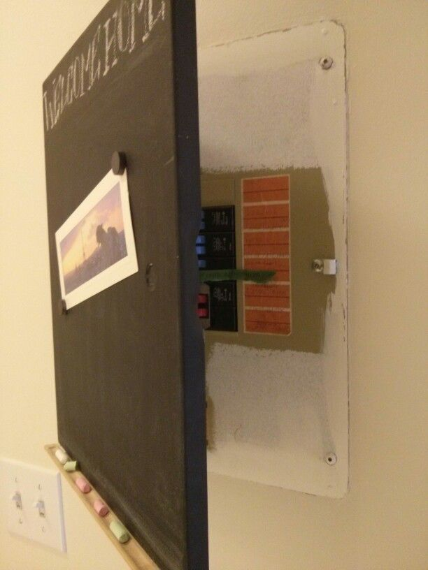turn the fuse box cover into a chalkboard i saw this today in an rh pinterest com hide fuse box ideas