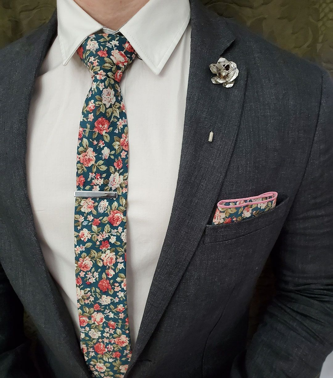 Morning Glory Skinny Floral Tie