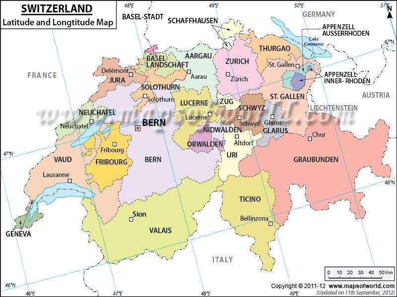 Switzerland Latitude And Longitude Map Switzerland Pinterest - World map with longitudes