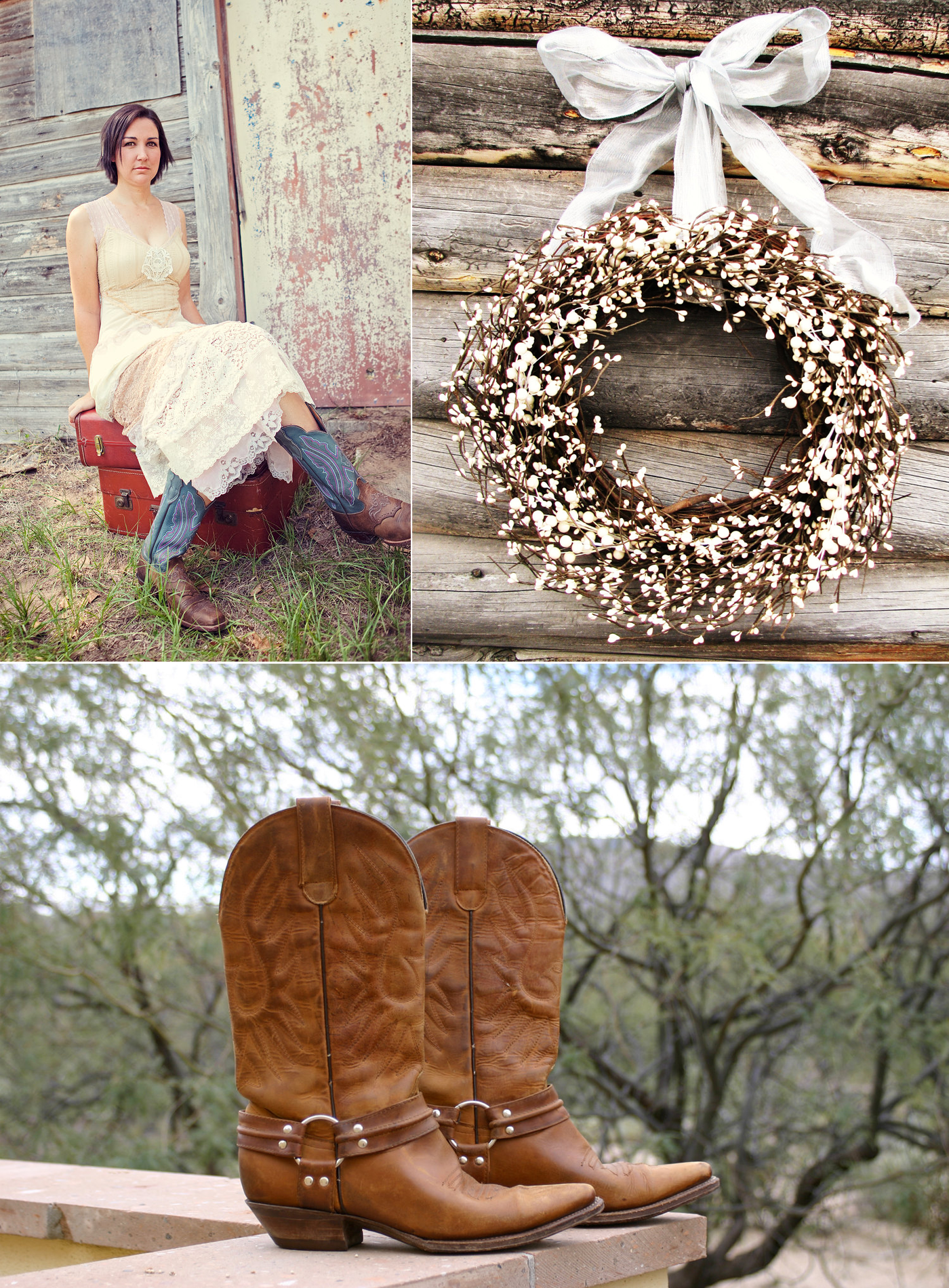 Country western themed wedding bride wears cowboy boots rustic country western themed wedding bride wears cowboy boots rustic reception decor junglespirit Choice Image
