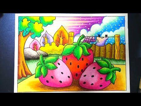Menggambar Dan Mewarnai Strawberry Dengan Gradasi Crayon