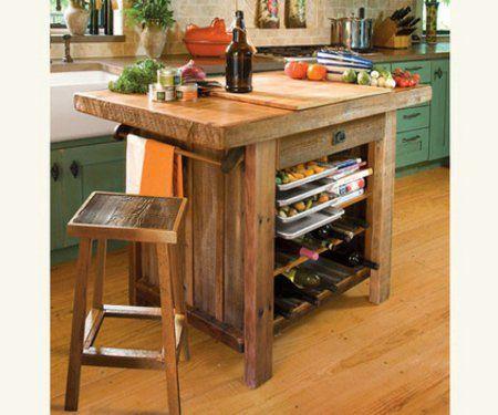 originelle praktische Küchenarbeitsplatten scheunenholz hocker